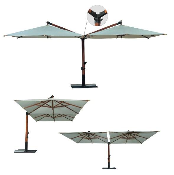 Зонт консольный в Люкс исполнении «V» или «Т»-образный, двухкупольный «Дабл Рим» 4х8м.